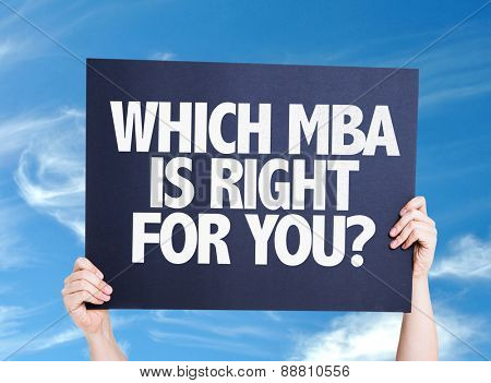 Which MBA is Right for you? card with sky background