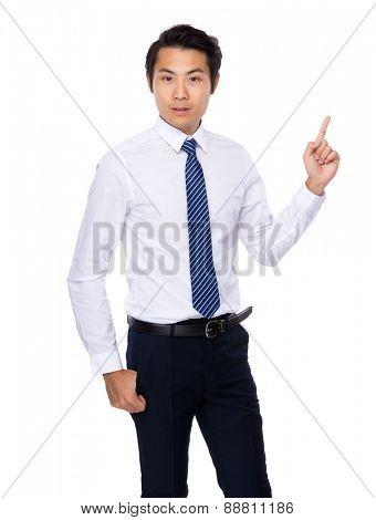 Asian Businessman finger show up