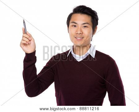 Young teacher with pen point up