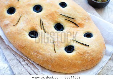 Italian bread with olives and rosemary focaccia, handmade