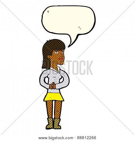 cartoon woman waiting with speech bubble