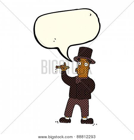 cartoon rich man with speech bubble