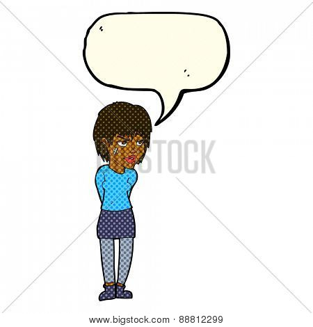 cartoon woman with plaster on face with speech bubble