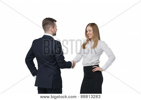 Young Couple At The Business Meeting. Handshake As A Concept Of Successful Deal. Isolated On White B
