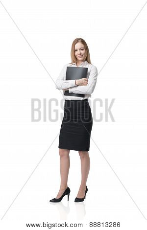Beautiful Young Business Lady Is Holding A Black Folder. Isolated On White Background.