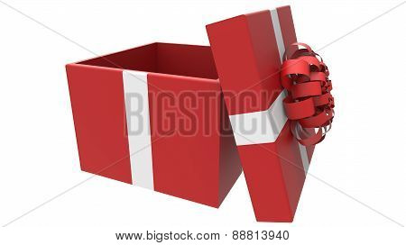 Colored Gift Box In Red And White
