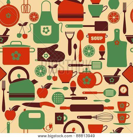 Seamless Pattern Kitchen Tools.