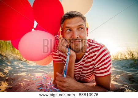 relaxing romantic male partying on the beach