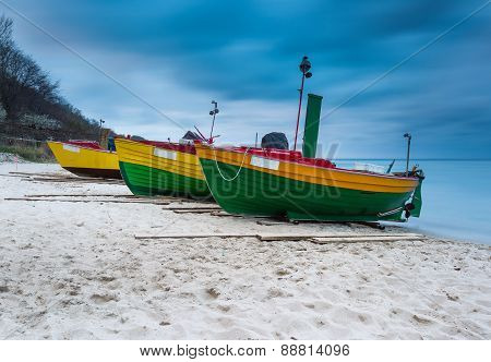 Landscape With Baltic Sea. Fishing Boat On The Beach. Tranquil Evening Landscape.
