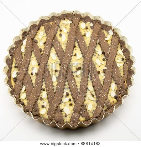Freshly Baked Cocoa Tart With Cheese And Chocolate