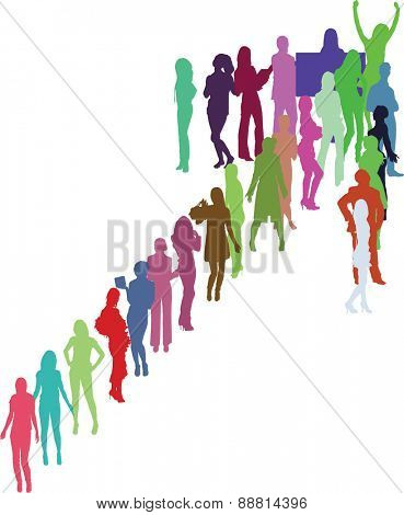 Colorful silhouettes arrow (vector silhouettes cut out from people in my portfolio)