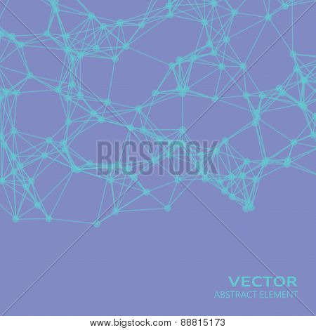 Abstract Cybernetic Particles On Violett Background