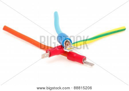 Cable Connector Is Connected To The Cable Isolated On White Background