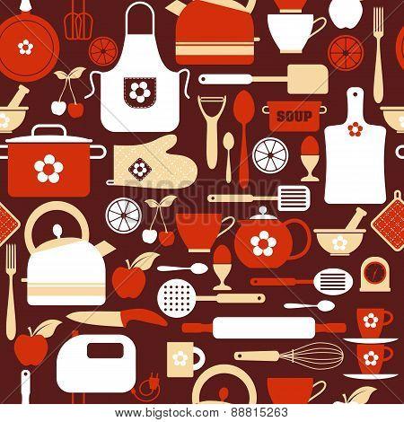 Seamless pattern kitchen tools