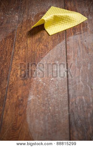 Dust And Yellow Rag On Parquet