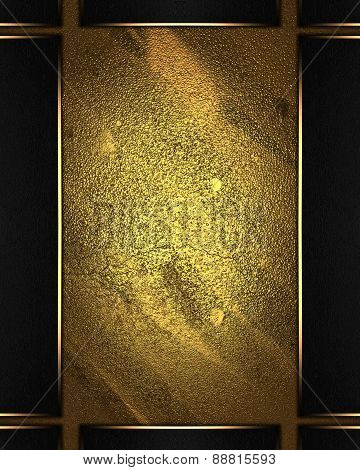 Gold Shabby Background With Black Frame With Gold Edges
