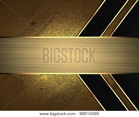 Element For Design. Template For Design. Abstract Gold Background With Black Lines And Gold Nameplat