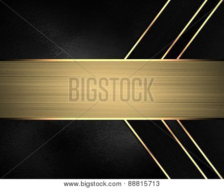 Element For Design. Template For Design. Black Background With Gold Lines And Nameplate