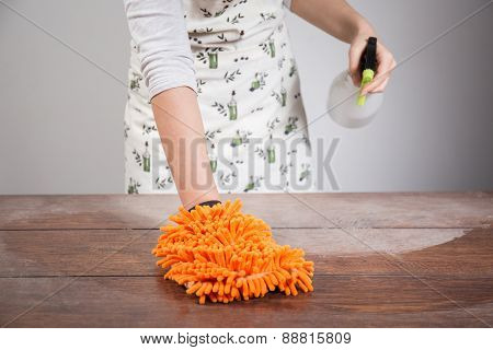 Woman Cleaning Dusty Wooden Desk