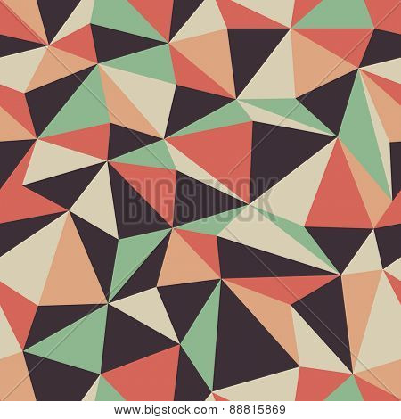Abstract Triangle Seamless Pattern in Retro Colors
