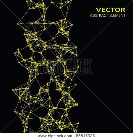 Yellow Abstract Cybernetic Particles On Black Background
