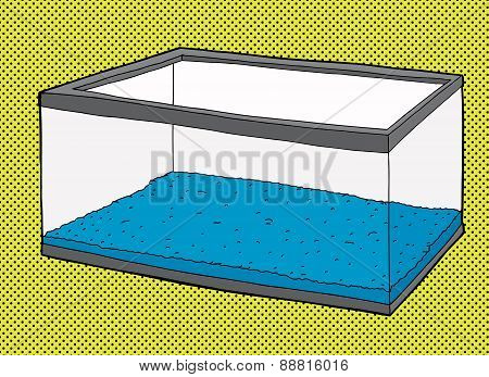 Empty Aquarium Tank With Blue Gravel