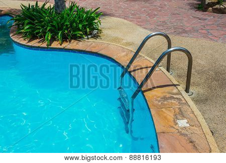 Grab Bars Ladder In Blue Swimming Pool
