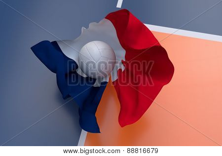 Flag Of France With Championship Volleyball Ball