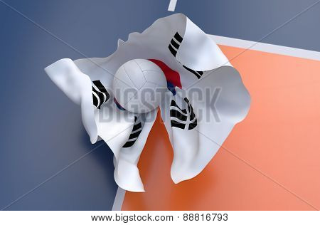 Flag Of South Korea With Championship Volleyball Ball