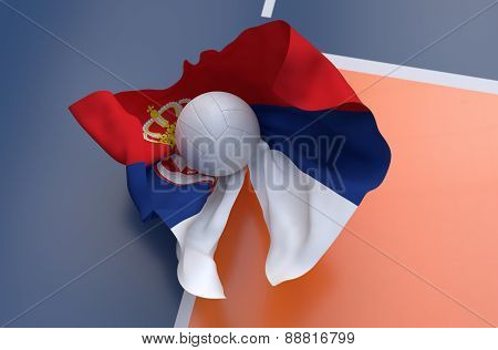 Flag Of Serbia With Championship Volleyball Ball