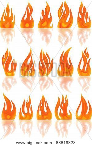 Collection Of Vector Fires Isolated On White