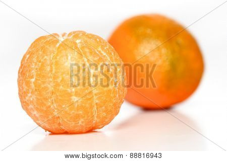 Studio sohot on mandarins on white backround