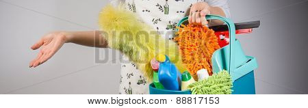 Woman Preparing To Clean