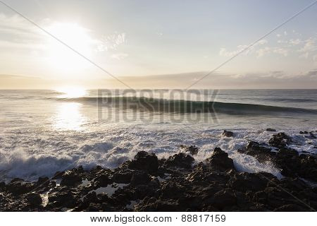 Wave Morning Rocky Coastline