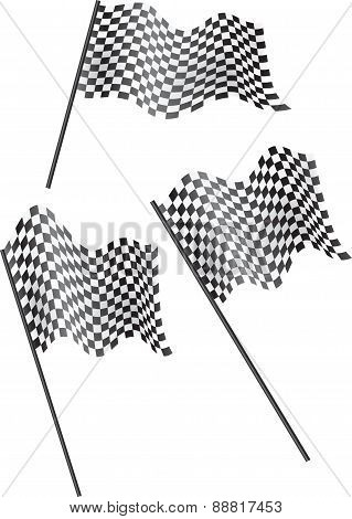 Set Of 3 Chequered Flags Flying. Vector Illustration.