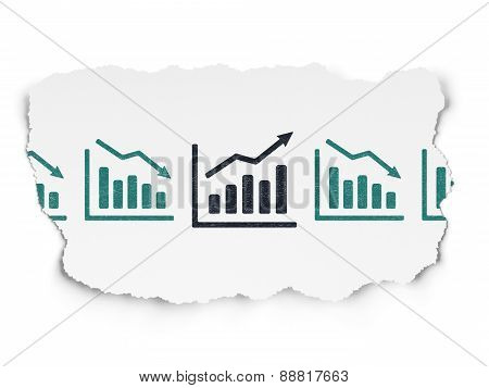 Finance concept: growth graph icon on Torn Paper background