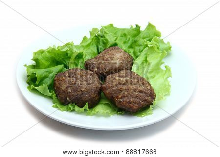 beef Patty with lettuce on white background