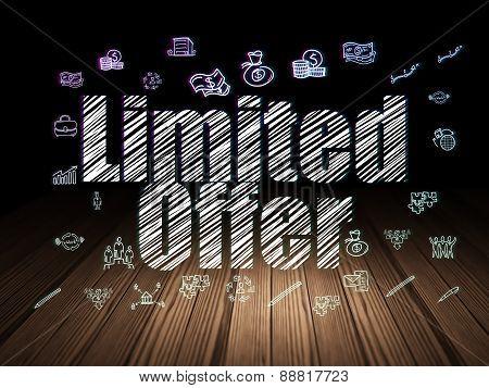 Business concept: Limited Offer in grunge dark room
