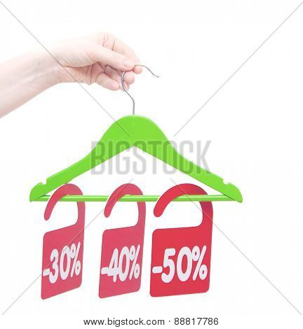 discount tag in hand a woman