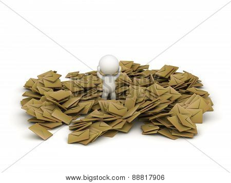 3D Character Covered in e-mails, isolated on white