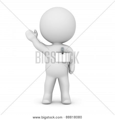 3D Character Wearing Name Badge