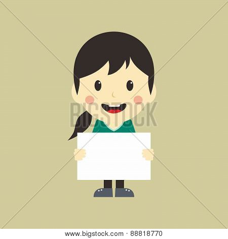cartoon girl with blank sign