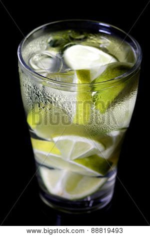 Close up of lime drink