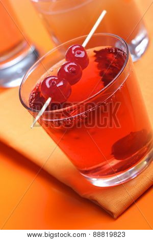 Close up of glass with cheery juice