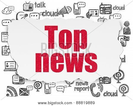 News concept: Top News on Torn Paper background