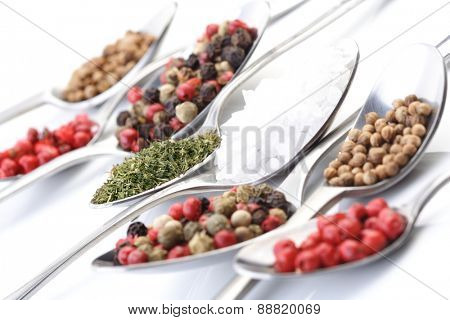 Close up of spices at spoones