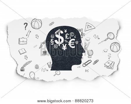 Education concept: Head With Finance Symbol on Torn Paper