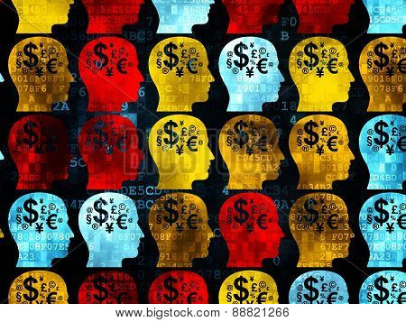 Education concept: Head With Finance Symbol icons on Digital