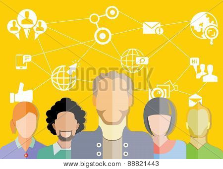 people group and social media concept