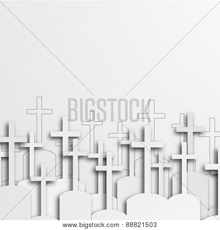 Vector modern graveyard white background.